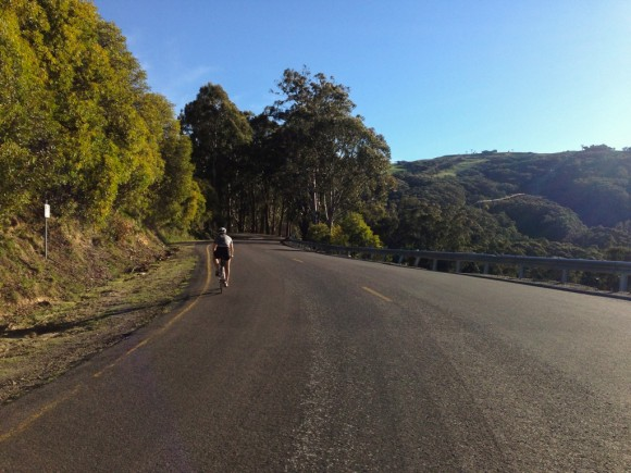 Entering the final 2km of the Mt. Buller climb.
