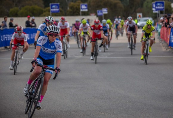 Verita's best NRS placing so far: 11th in a pancake-flat criterium at the Tour of the Murray River. (Image: Jo Upton)