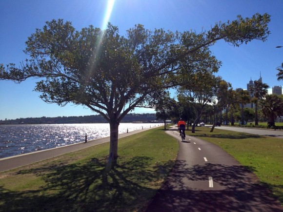 Bike track alongside the Swan River.
