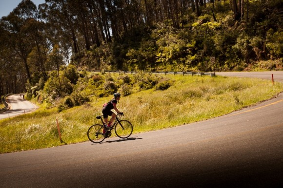 The memorable Falls Creek hairpin with 6km to go.