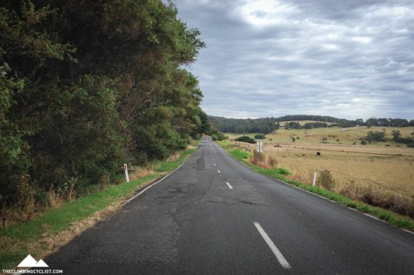 Following the Great Ocean Road inland ahead of the final climb of the day.