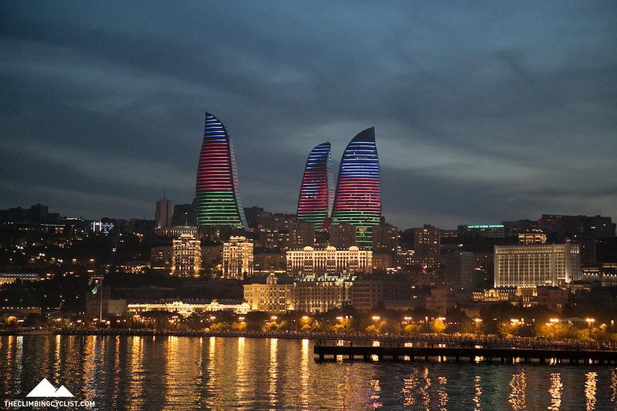 The Flame Towers of Baku, Azerbaijan's capital.