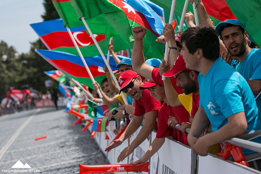 The crowds were modest throughout the race and never more vocal than at the finish of stage 1 in Sumqayit.