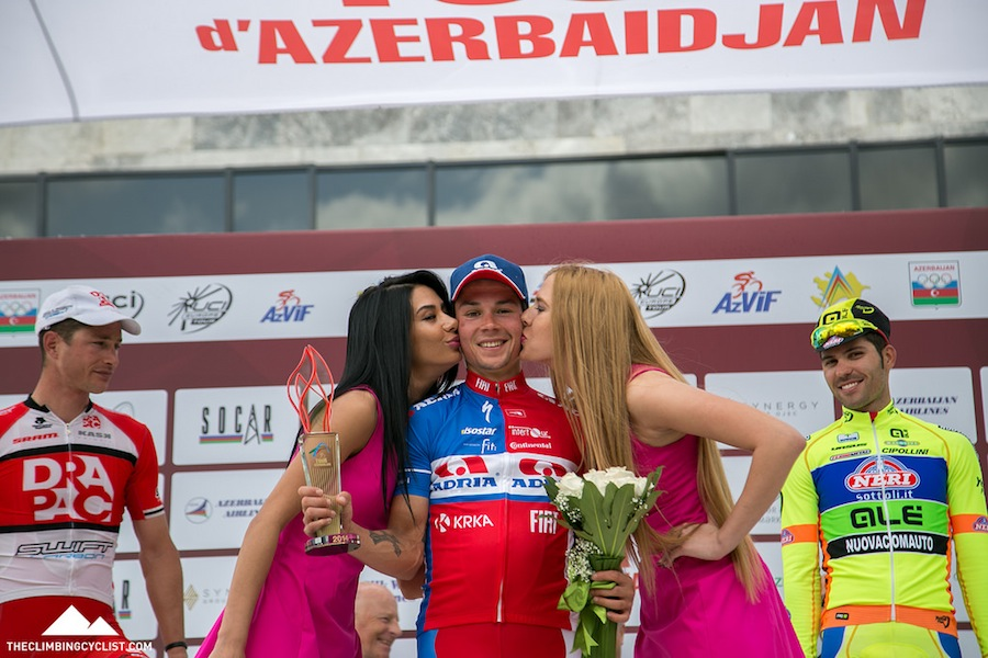 Love the smiles of the stage winner and third-placed rider here.