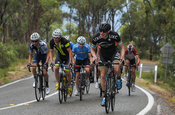 Nick in the lead group on Tawonga Gap. He's wearing the blue Tenax kit just to the left of centre. (Image: JXP Photography)