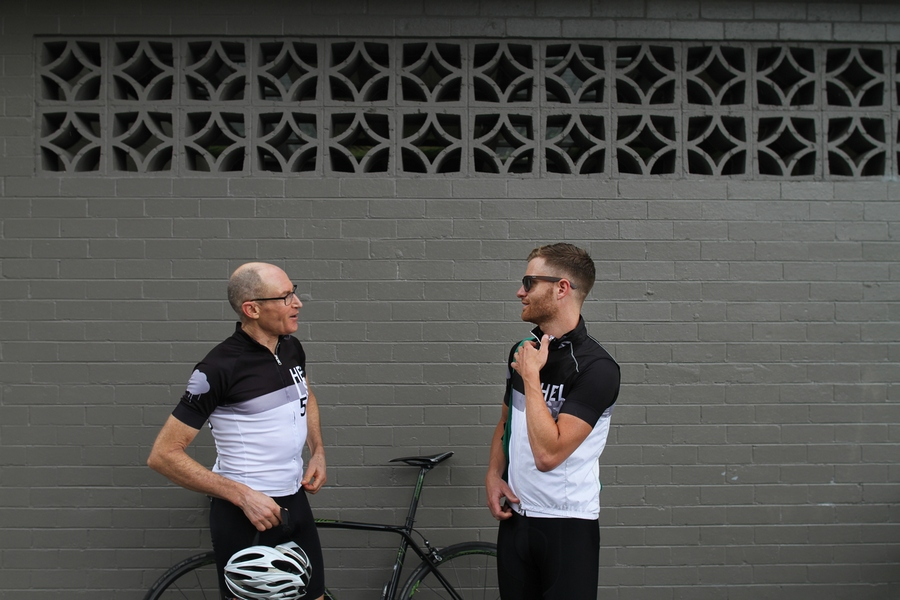 "Andy van Bergen (right) chats with George Mallory, the man believed to have completed the first ""Everesting"" -- a ride on Mt. Donna Buang back in the early 1990s."