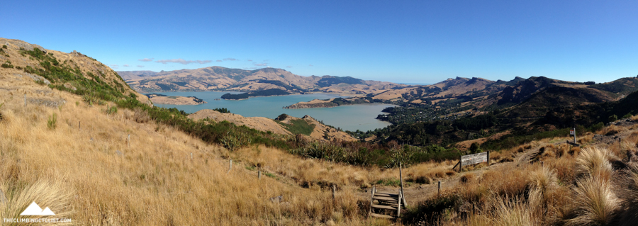 Panorama of the Lyttelton Harbour from Summit Road.
