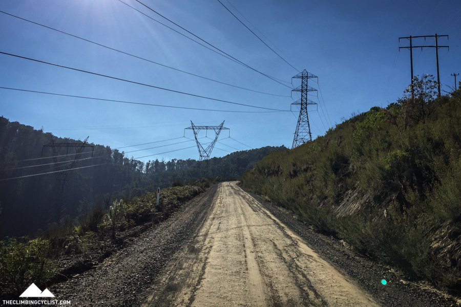 Approaching the powerlines on Bowden Spur Road.