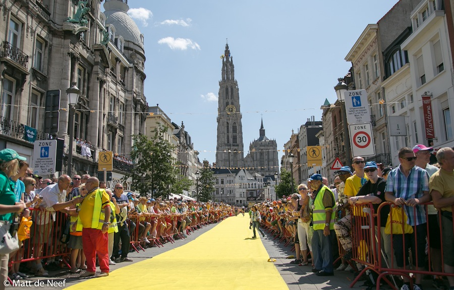 Near the start of stage 3 in Antwerp.