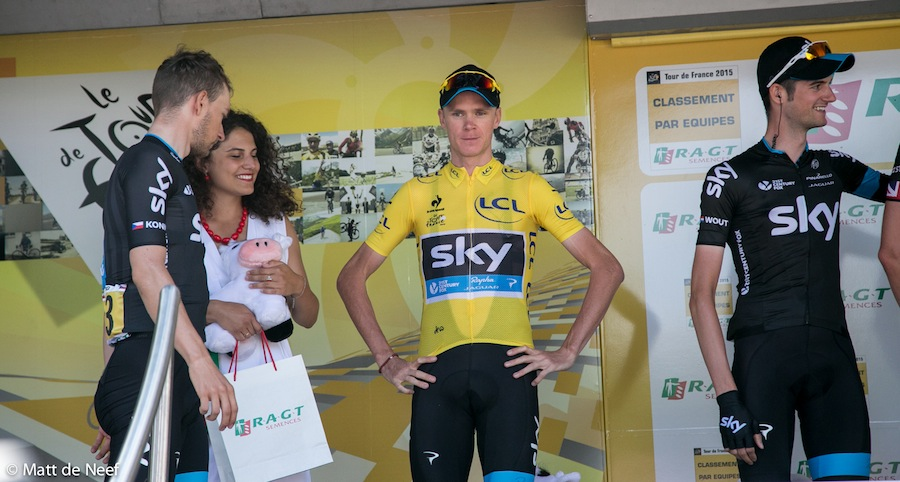 Eventual winner Chris Froome at one of the stage starts.