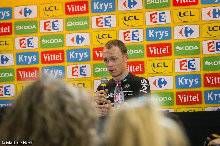 Chris Froome gives his final press conference of the race.