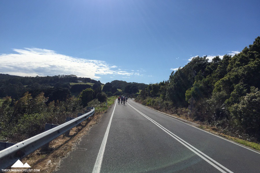 Looking up the climb in the closing kilometres.
