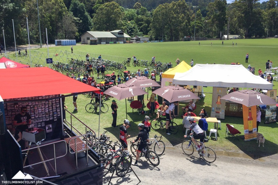 View of the post-ride event village.