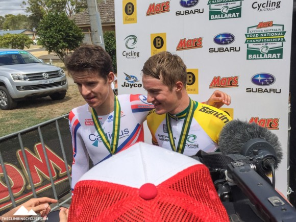 The Scotson brothers, Miles (left; second) and Callum (right; first) after the U23 time trial.