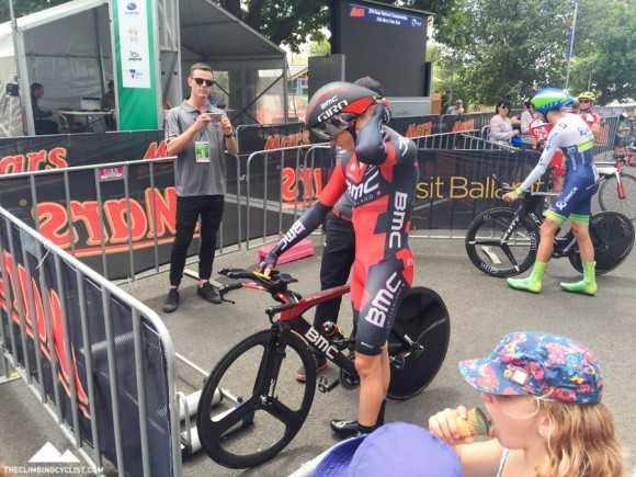 Rohan Dennis at the start of the men's time trial.