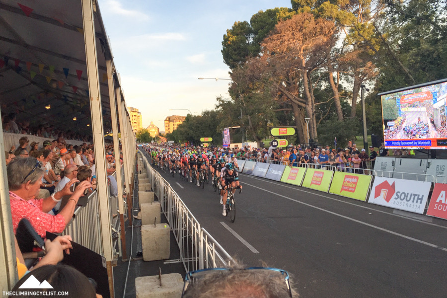 Geraint Thomas leads the peloton through in the People's Choice Classic criterium, two days before the TDU began.