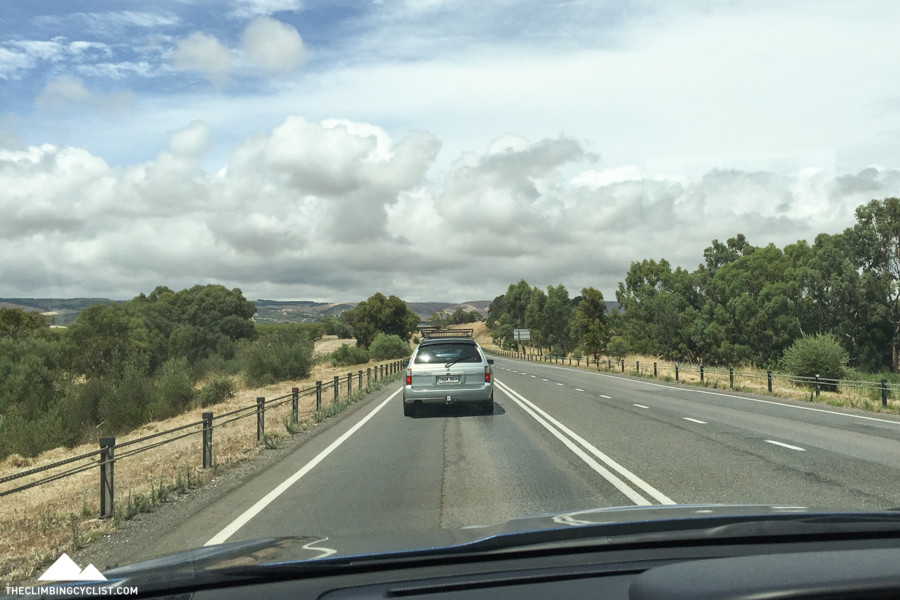 Driving down to Victor Harbor in the media car.