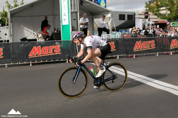 Sophie Mackay, a surprise winner in the elite women's criterium.