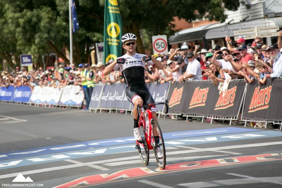 Victory for Jack Bobridge in the elite men's road race.