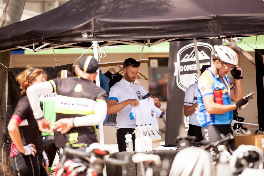Andy manning the Domestique pop-up store at the top of Mt. Buller.