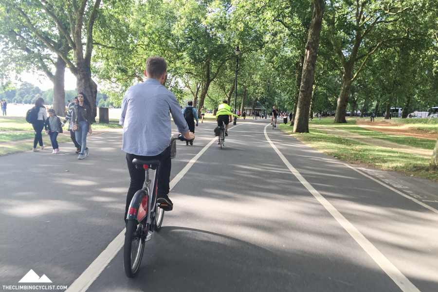 Riding near Hyde Park in London with Ash.