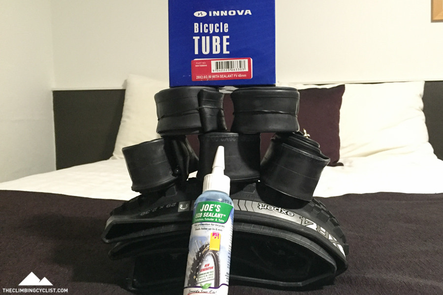 I managed to stock up on some more tubes and some sealant when we got to Alice Springs.