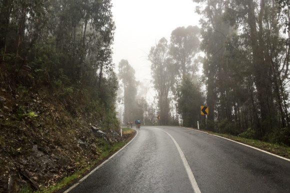 Into the clouds, just a couple kilometres into the climb.