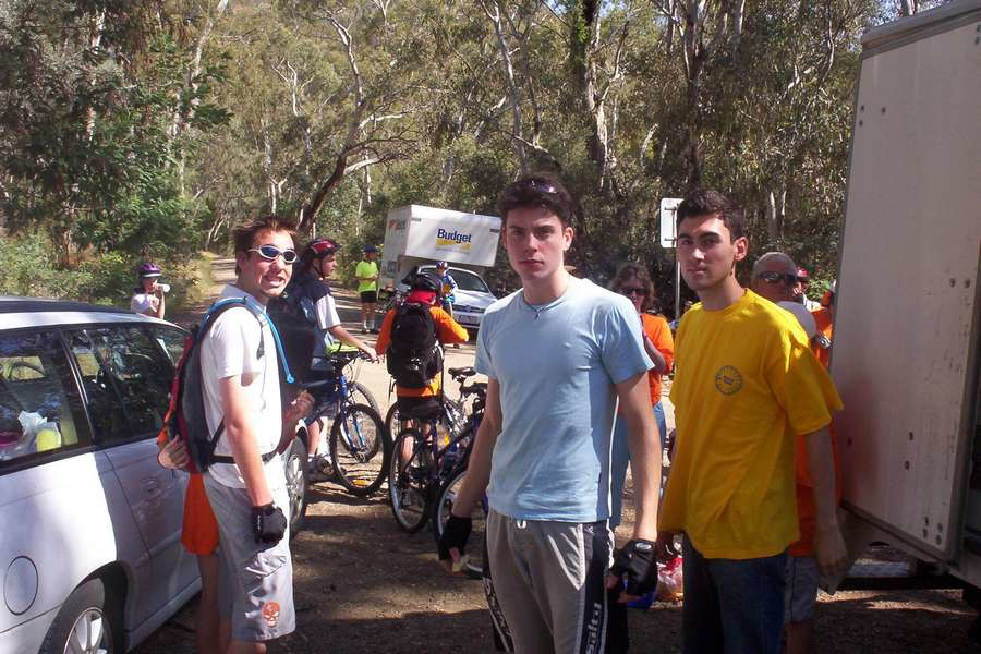 Mark (left), Nick (centre) and Ken on the Tuesday of Bike Camp.