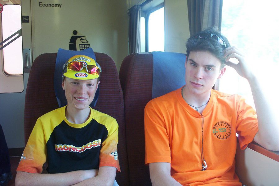 Rohan (left) and Nick (right) on the train from Melbourne to Wangaratta for the 2004 Bike Camp.