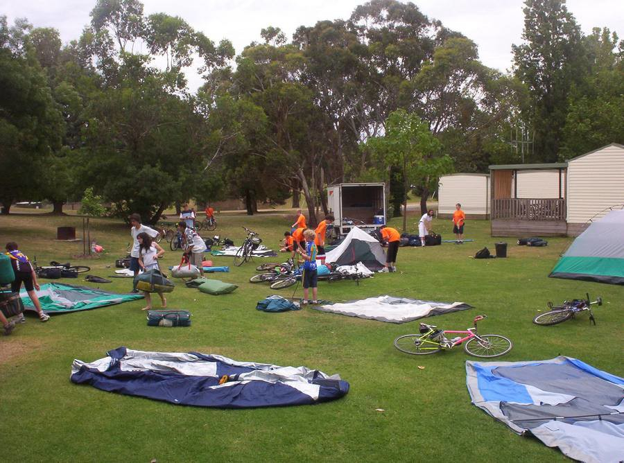 Setting up camp in Beechworth.